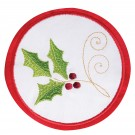 Holly Seasonal Coasters Embroidery Design