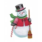 Snowman and Broom Snowfolk Embroidery Design