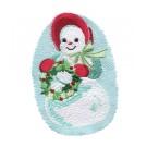 Snowwoman and Wreath Snowfolk Embroidery Design
