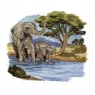 Elephant Scene Serengeti Pride Embroidery Design