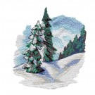 Evergreens Winter Sports Embroidery Design