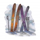 Skis Winter Sports Embroidery Design