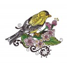 Goldfinch Birds and Blooms Doodles Embroidery Design
