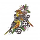 Goldfinches Birds and Blooms Doodles Embroidery Design