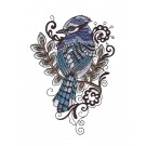 Blue Jay Birds and Blooms Doodles Embroidery Design