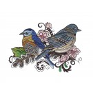 Bluebirds Birds and Blooms Doodles Embroidery Design