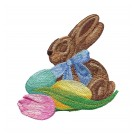 Bunny and Eggs Easter Flourishes Embroidery Design