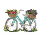 Bike and Flowers Vintage Elegance Embroidery Design