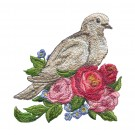 Dove and Flowers Vintage Elegance Embroidery Design