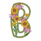 B Blooming Applique Alphabet Embroidery Design