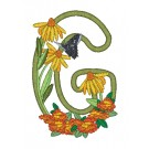 G Blooming Applique Alphabet Embroidery Design