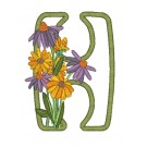 H Blooming Applique Alphabet Embroidery Design