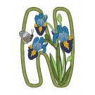 N Blooming Applique Alphabet Embroidery Design