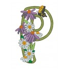 P Blooming Applique Alphabet Embroidery Design