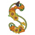 S Blooming Applique Alphabet Embroidery Design