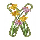 X Blooming Applique Alphabet Embroidery Design