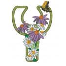 Y Blooming Applique Alphabet Embroidery Design