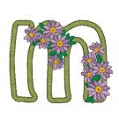 m Blooming Applique Alphabet Embroidery Design