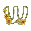 w Blooming Applique Alphabet Embroidery Design