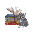 Gray Cat and Books Kitten Tales Embroidery Design