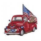 Truck and Flags Rustic Farm Embroidery Design