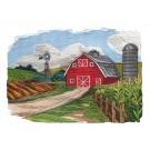 Red Barn Landscape Rustic Farm Embroidery Design