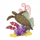 Sea Turtle, Clown Fish And Coral