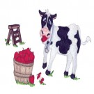 Cow Eating Apples