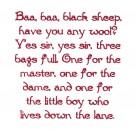 Baa Baa Black Sheep Text Embroidery Design