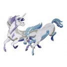 Charging Purple And Blue Unicorns Embroidey Design