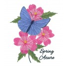 Spring Azure Butterfly Scrapbook Embroidery Design