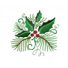 Pine And Holly Embroidery Design