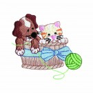 Puppy And Kitty In Basket Embroidery Design