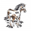 Trotting Prairie Horse Embroidery Design