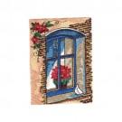 Poinsettia In Window
