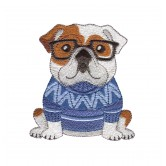 English Bulldog Cool Cats and Dogs Embroidery Design