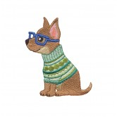 Chihuahua Cool Cats and Dogs Embroidery Design