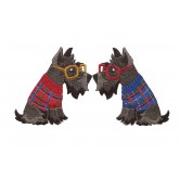 Twin Scotties Cool Cats and Dogs Embroidery Design