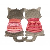 Twin Cats Cool Cats and Dogs Embroidery Design