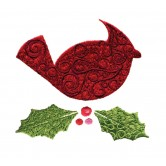 Cardinal and Holly Free Embroidery Design