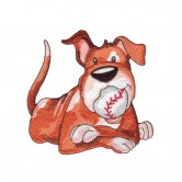 Dog Eating Baseball