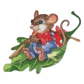 Mouse Rowing Leaf Boat