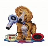 Puppy with Hair Dryer